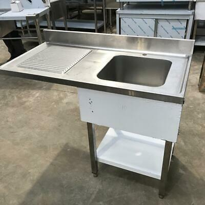 Commercial Dishwasher Sink S/steel 1 Bowl right with Splashback 120x70x90cm