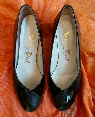 Vintage Retro Patent Black Leather Peep Toe Shoes Heels Uk 5 1/2