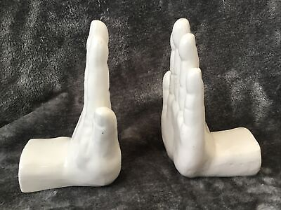 Retro Pair White China Ceramic Hands Palms Bookends