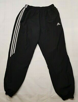 Adidas Trousers Adult Large L Black Track Pants Sports Zipped Gym Pockets Mens