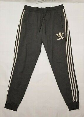 Adidas Trousers Adult Large L Grey White Pants Gym Outdoors Running Cotton Mens