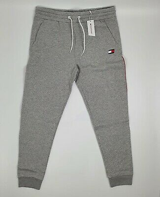 TOMMY SPORT Flag Logo Fleece Jersey Grey Jogging Bottoms UK XL Track Pants BNWT