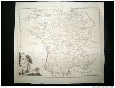Map, France, Holland, etc, map of ** 1840**, with engraving, 35 cm