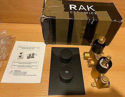 RAK Thermostatic Round 2 Outlet Concealed Shower Valve Dual Handle - Black