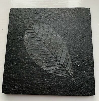 4 x Slate Coasters with Etched Leaf Design.