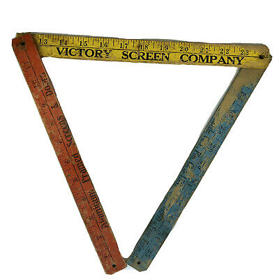 Vtg Folding Wooden Yardstick Advertisement Victory Screen Co Red Yellow Blue