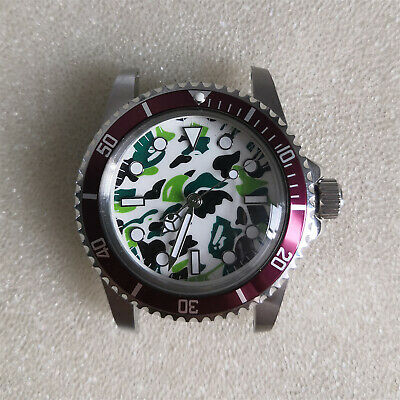 316L Metal Watch Bezel Case w/Camouflage Luminous Dial for Watch NH35 Movements
