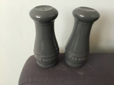 Brand new in box  Le Creuset Stoneware Salt And Pepper Shakers - raw grey