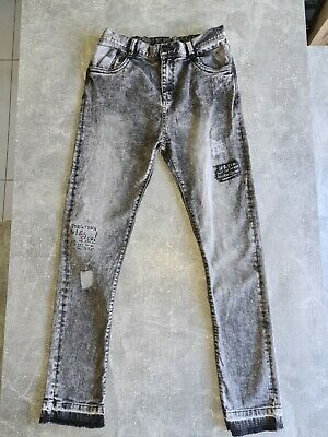 Boys Grey Distressed Skinny Jeans Age 14