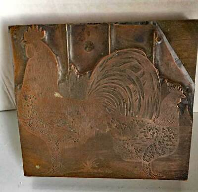 antique Vintage PRINTING PLATE *ROOSTERS * copper on Wood