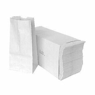 Paper Lunch Bags, Paper Grocery Bags, Durable White Paper Bags, 4 Lb Capacity, W