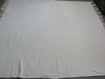 Antique woven white on white cotton bedspread with fringe 78 x 78 inches