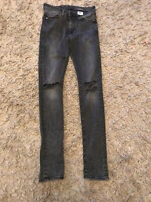 H AND M SKINNY DARK GREY WASHED JEANS RIPPED KNEES TECH STRETCH 29 Waist 32 Leg