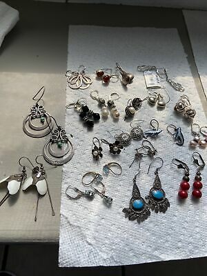 Estate Lot Vintage Sterling Silver Jewelry Earrings Turquoise