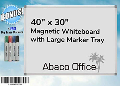 40x30 Inch Premium Magnetic Dry Erase Whiteboard by ABACO OFFICE | 4 Free Dry +