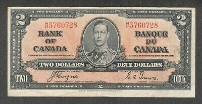 1937 $2.00 BC-22c VF * Very NICE King George VI COYNE Bank of Canada Two Dollars