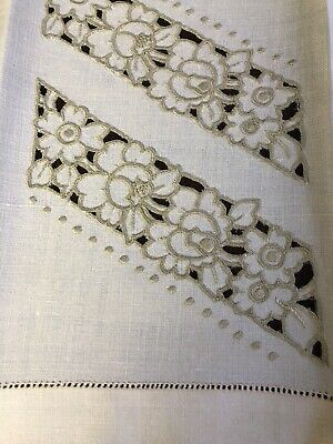 Antique Madeira Ivory Linen Guest Towel  Embroidered Fine Cutwork Hemstitched