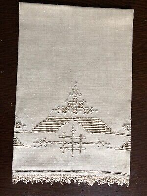 Antique Madeira Linen Guest Towel Embroidered Cutwork Hemstitched & Bobbin Lace