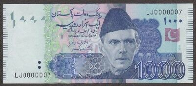 Pakistan Banknote - 1000 Rupee - Low Fancy Number 0000007 - 2016 Issue