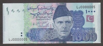 Pakistan Banknote - 1000 Rupee - Low Fancy Number 0000005 - 2016 Issue