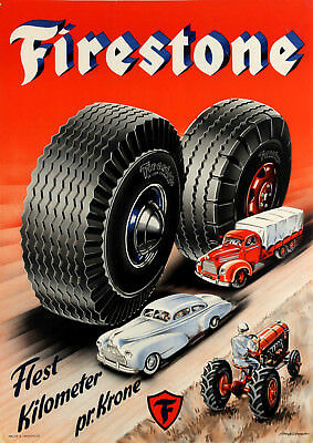 1950s Danish Advertising Poster  Firestone Tires by Aage Lippert 13 x 19 Giclee