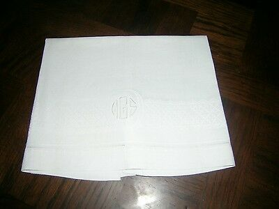 Antique French large ivory cotton damask bath/ kitchen towel monogrammed MGS