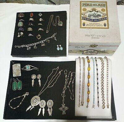Huge Lot 296G Sterling Silver 925 Signed Jewelry All Wearable NO SCRAP