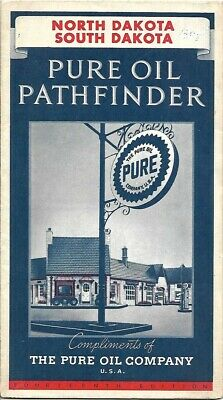 Vintage 1937 PURE OIL PATHFINDER Road Map NORTH + SOUTH DAKOTA Black Hills Fargo