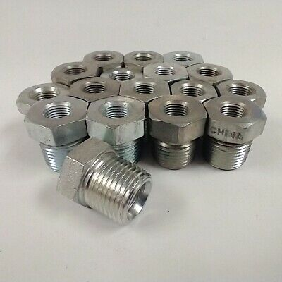 "5406-06-04 1/4"" Fnpt To 3/8"" Mnpt Threaded Bushing Couplers (Lot Of 17)"