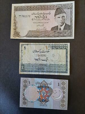 3 Pakistan notes - one 5 Rupee(80s) and two 1 Rupee Notes. One 1970s other 1980s