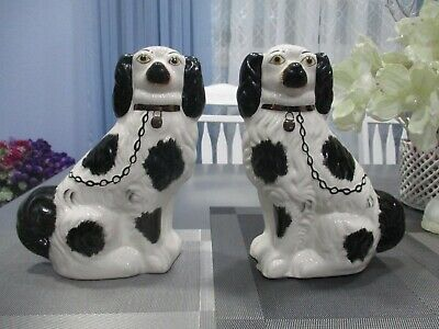 """Staffordshire King Charles 2 Large black and white cavalier spaniel's 11.5"""""""