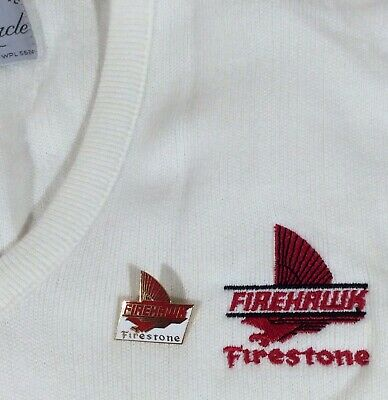 Vintage Embroidered Firestone Firehawk L Sweater & Enamel Pin