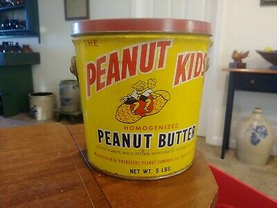 Vintage tin Peanut Butter Pail Peanut Kids Tin 5 Lbs Girl Boy Suffolk VA