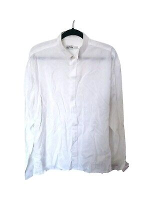 Vintage XL ANGELO LITRICO Designer Dress Shirt Silky Spot Pattern Wing Collar 43