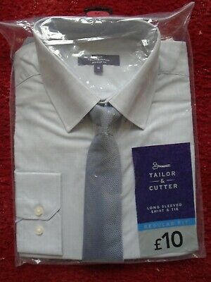 BN Tailor & Cutter mans long sleeved shirt and tie 16 regular fit