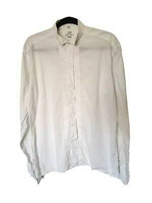 Vintage M S JAQUES BRITT White Pleated Dress Shirt Wing Collar Pleat 39 15.5