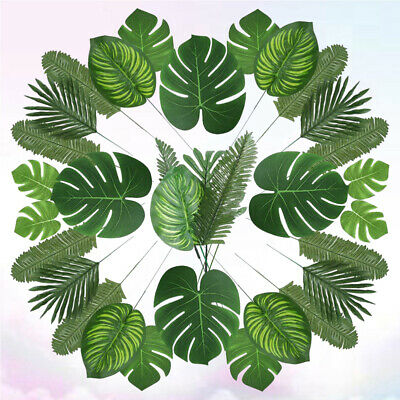 90Pcs Lifelike Palm Leaves Fake Green Plants Greenery Leaves for Home