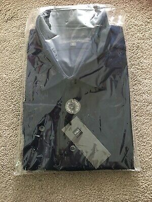 "MARKS & SPENCER MENS NAVY LONG SLEEVE SLIM FIT COTTON SHIRT, Collar 18.5"", Bnwt"