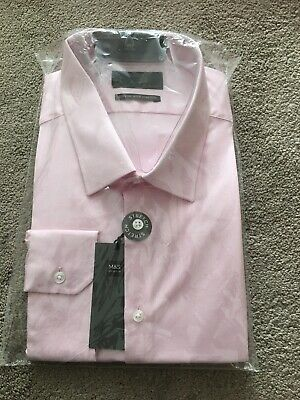"MARKS & SPENCER MENS SLIM FIT LONG SLEEVE COTTON PINK SHIRT, Collar 18"", Bnwt"