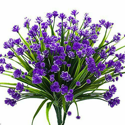 Artificial Fake Flowers, 4 Bundles Outdoor UV Resistant Greenery Shrubs Plants