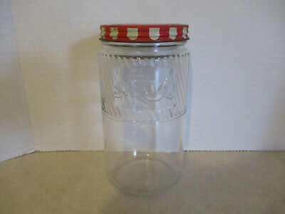 "Jumbo Brand Peanut Butter 6 1/4"" Jar with Embossed Elephant & Original Lid"