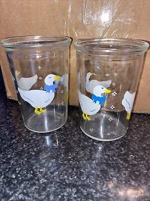 2 Vintage BAMA Jelly Jar White Ducks Geese Blue Bows Juice Glasses
