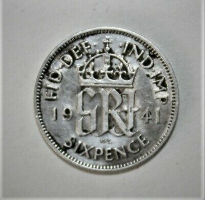 Great Britain 6 Pence 1941 Very Fine Silver Coin - King George VI