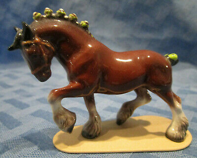 Hagen Renaker Miniature, Clydesdale Draft Horse on Base, Retired, #3127, US Made