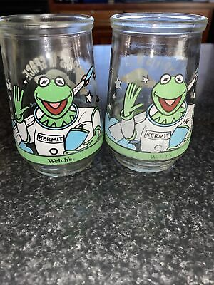 1998 Welch's (2) Muppets In Space /Kermit In Command Collectible Jelly Glass