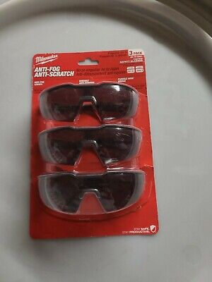 Pack Of 3 New Milwaukee 48-73-2051 Tinted Safety Glasses Anti-Fog Anti-Scratch