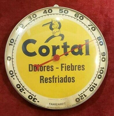VINTAGE ADVERTISING THERMOMETER / CORTAL / GLASS DOME / PUERTO RICO 1950's