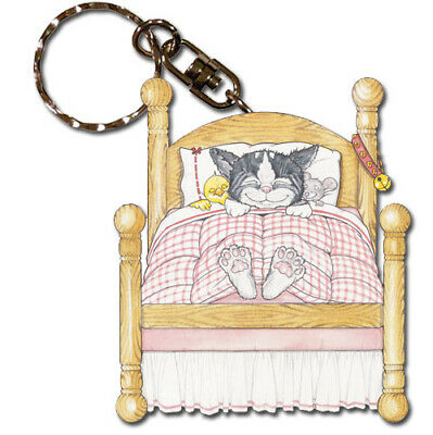 Cat Dreams Keychain Wooden