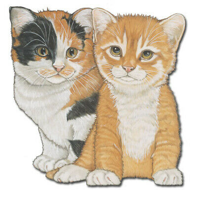 Cat Calico and Tabby Cat Magnet Wooden