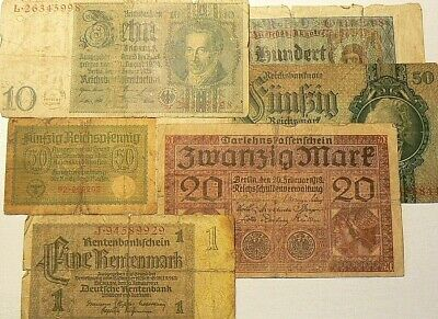 1918 to 1937 Germany Banknotes Lot of 6 #4531